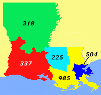 Area Codes of Louisiana